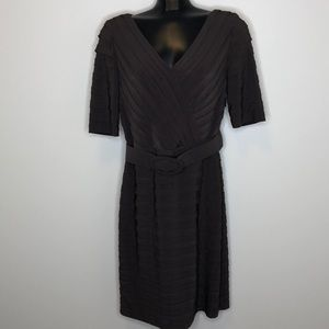 ADRIANNA PAPELL brown wide belted layered dress 12